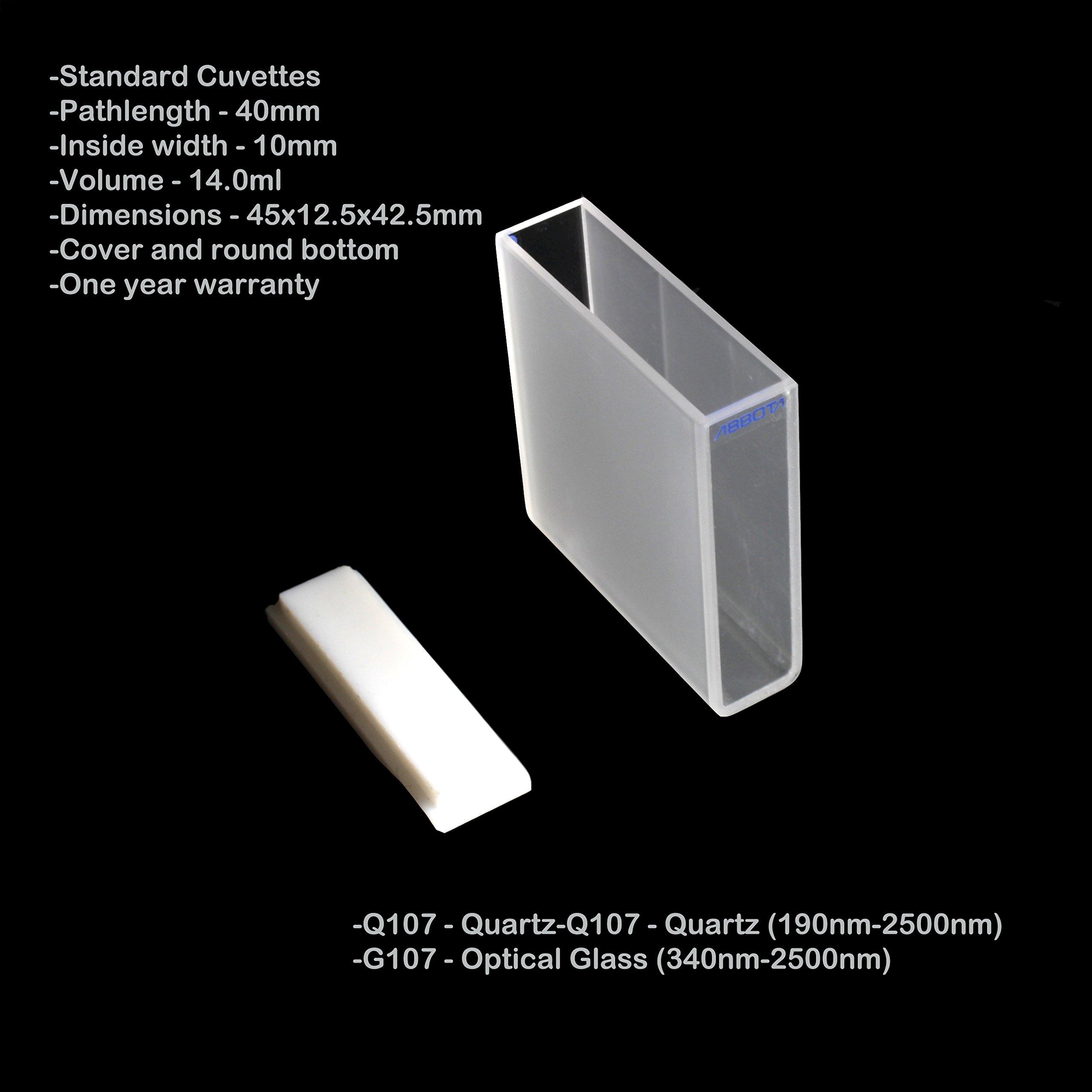 40mm Pathlength Glass Cuvettes - 14ml