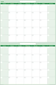 Earth Green 60-Day / 2-Month Vertical Erasable Wall Calendar 24 Wide X 36 Tall. No ghosting or staining