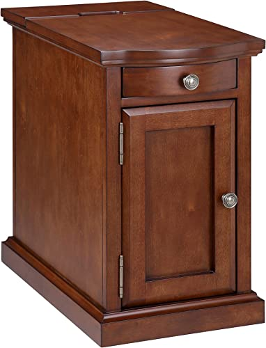 Ball Cast Harriet Wood End Table with Drawer, Cabinet, and Built-in Power Strip, Executive Brown