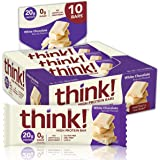 think! High Protein Bars, No Artificial Sweeteners, White Chocolate, 10 Count