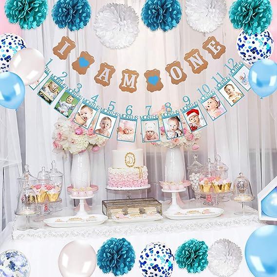 Feelairy 1er Cumplea/ños Bebe Globos Decoracion para Ni/ño 12 Meses Foto Guirnalda 1 A/ño Cumplea/ños Globos Decoraci/ón para Fiesta de Primer Cumplea/ños Happy Birthday Pancarta Banderines Azul