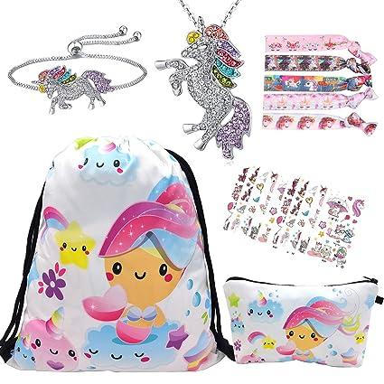 RLGPBON 19pcs Regalos de Unicornio para niñas, Mochila con cordón Bags/Maquillaje Bolsa/Collar Aleación Cadena/Lazos para el Cabello (Type 4)