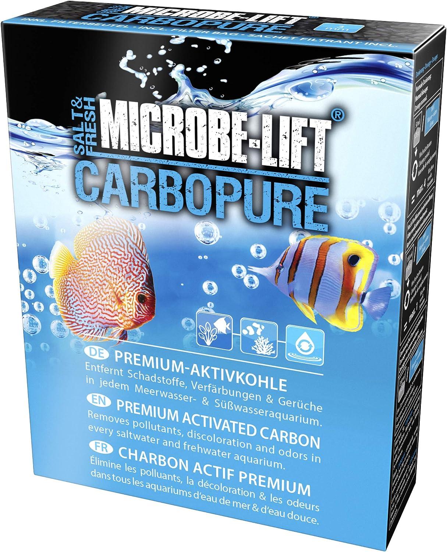 MICROBE-LIFT Carbopure - Medio Filtrante de Carbono Activado, Ayuda en Caso de Agua Amarilla, Medicamentos, Sustancias Tóxicas en el Acuario 240 g