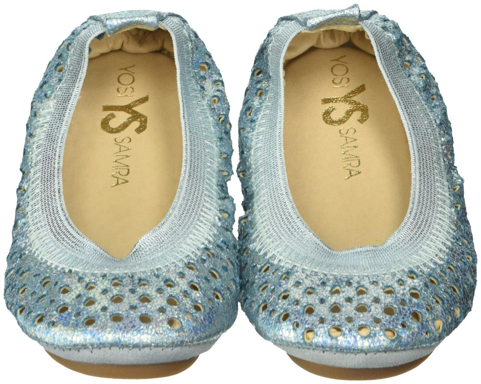 Yosi Samra Girls Sammie Iridescent Crinkle Slip on Ballet Flat (Toddler), Alaskan Blue, 9 M US Toddler by Yosi Samra