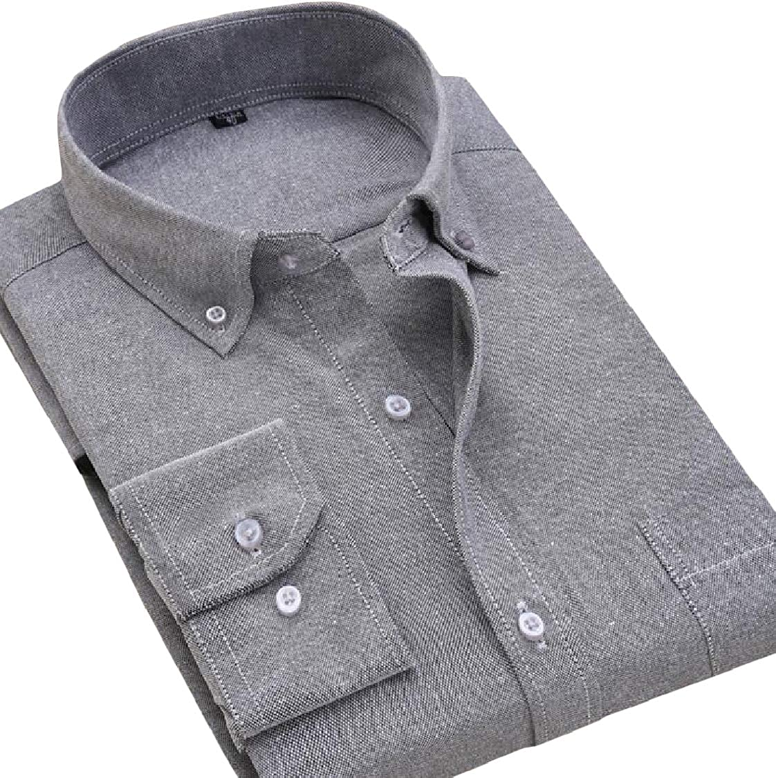 Lutratocro Men Long-Sleeve Oxford Dress Casual Easy-Care Work Shirts