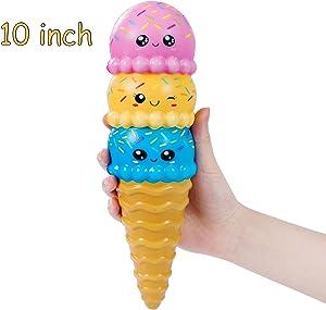 AILIMY Animal Ice Cream Squishy Jumbo Cute Cream Scented Soft Squishies Slow Rising Food Squeeze Toys (6 Random Colors)