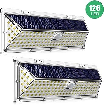 2 Piezas] Luces Solares LED Exterior IDESION Lámpara Solar 126 LED 2200mAh Luz Solar Jardín IP65 Impermeable 120 ° Detector de Movimiento con Distancia 5-12M 3 Modos Proyector de iluminación: Amazon.es: Iluminación