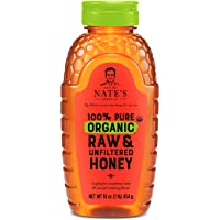 Nature Nate's 100% Pure Organic, Raw & Unfiltered Honey, 16 oz. Squeeze Bottle; All-natural Sweetener, USDA Certified…