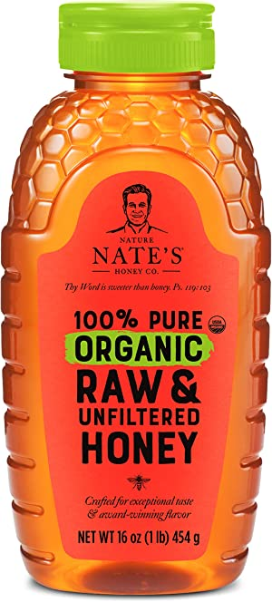 Nature Nate's 100% Pure Organic, Raw & Unfiltered Honey, 16 oz. Squeeze Bottle; All-natural Sweetener, USDA Certified Organic, No Additives