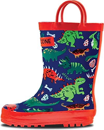 Rainbots LONECONE Rain Boots with Easy-On Handles in Fun Patterns for Toddlers and Kids 5 Toddler