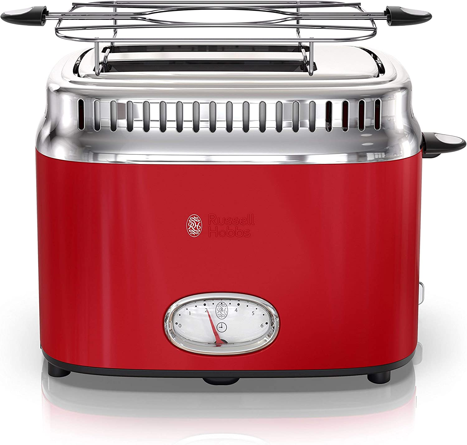 Russell Hobbs 2-Slice Retro Style Toaster, Red & Stainless Steel, TR9150RDR (Renewed)