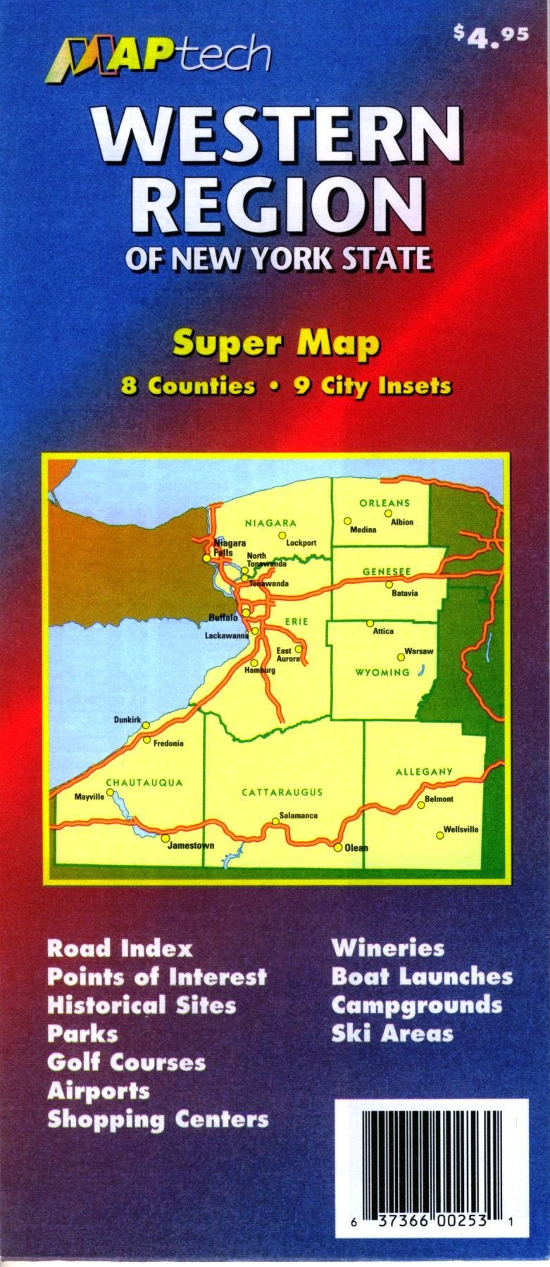 Western New York State Map.Western Region Of New York State Super Map 8 Counties 9 City