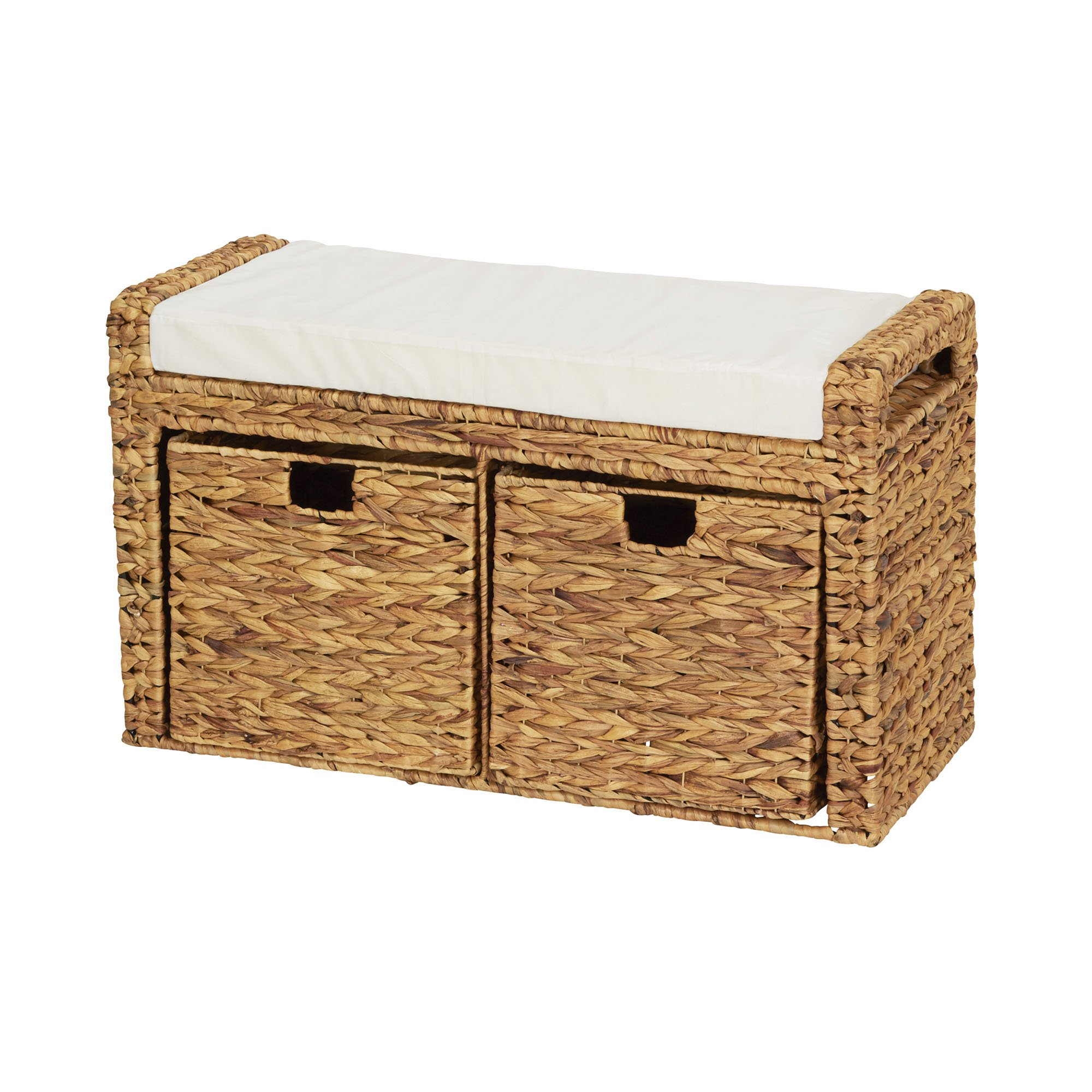 Household Essentials Entryway Wicker Cushioned Storage Bench with Shoe Cubes, Natural
