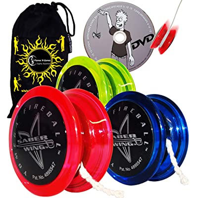 Yomega Fireball Saber-Wing Flared Shaped Yoyo with Starburst Response System - Supreme Quality Medium Yo-Yo for Kids & Adults + Learn DVD + Travel Bag! (Black/Green): Sports & Outdoors