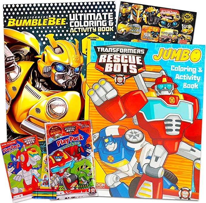 Amazon Com Transformers Rescue Bots Coloring And Activity Book Set With Stickers And Crayons Toys Games