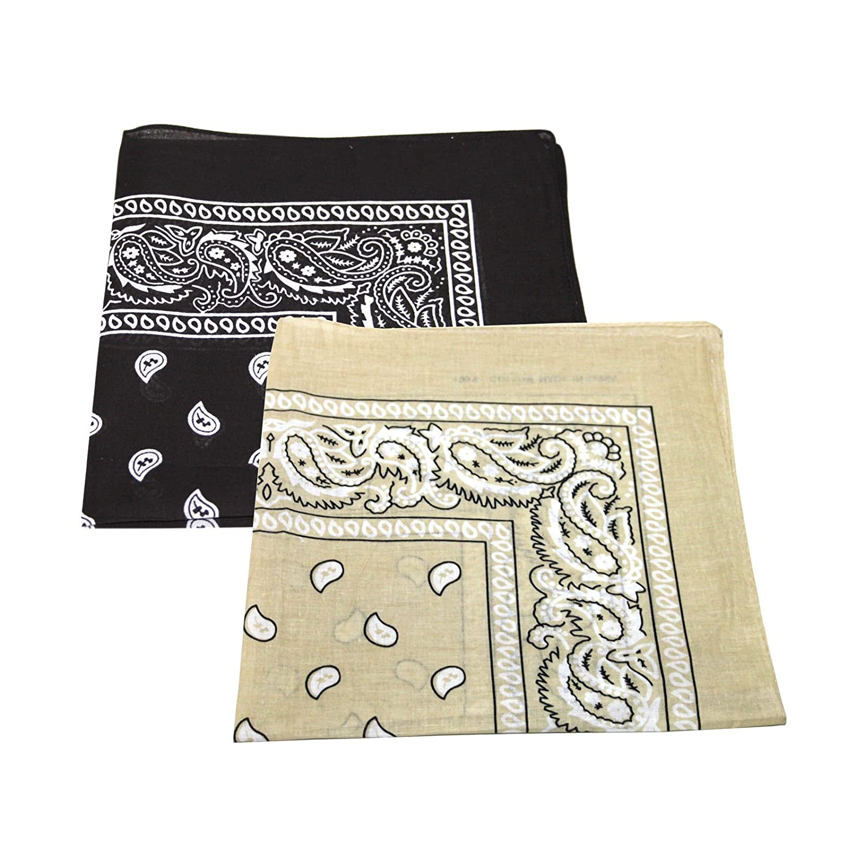 2 x Men's/Women's Paisley Pattern Bandana Head / Neck Scarf 100% Cotton