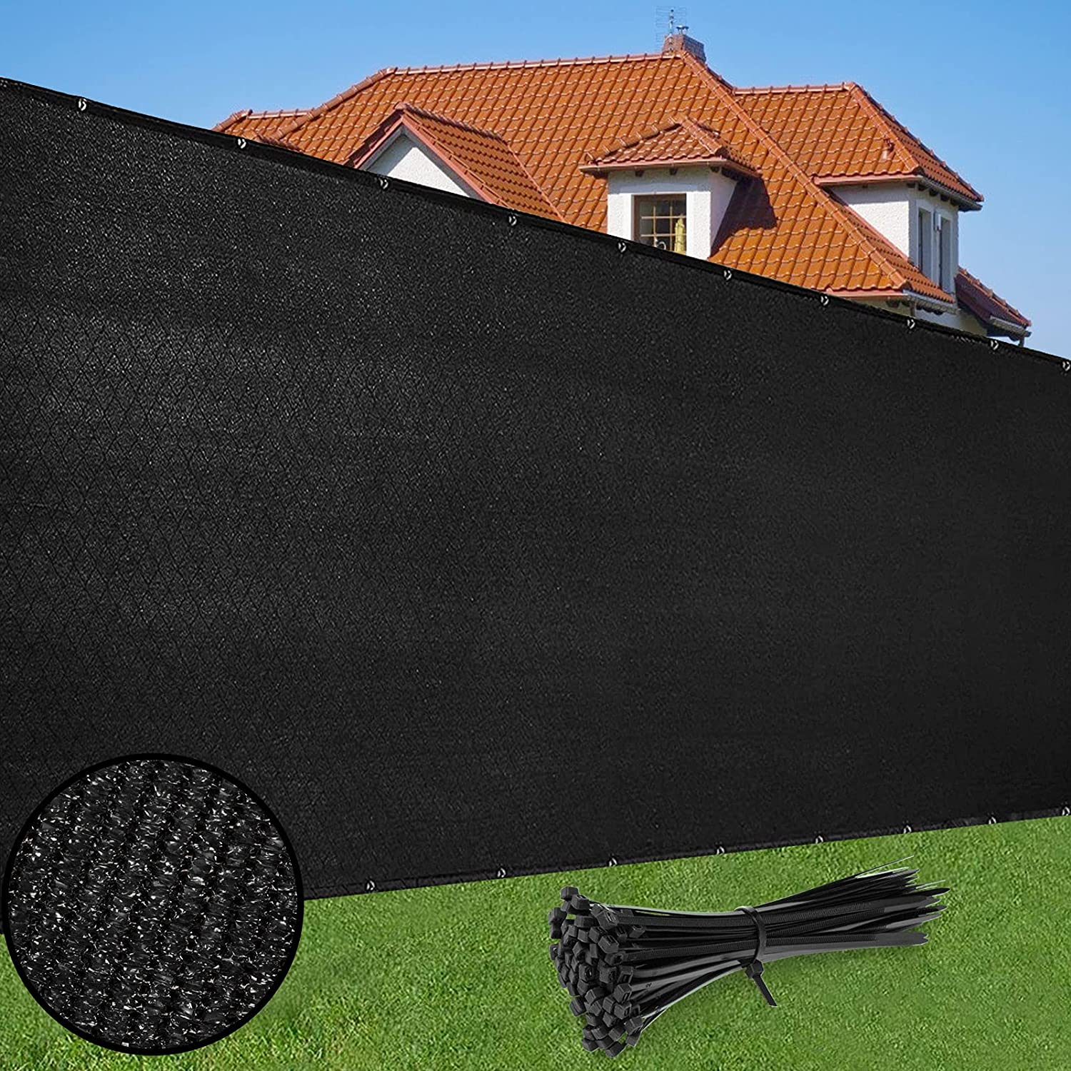 Duerer Privacy Screen Fence 4' x 50' Heavy Duty Garden Windscreen 90% Blockage Shade Cover UV Protection Outdoor Panel, Backyard, Patio Protection Fencing Mesh Net Cable Ties (Black)