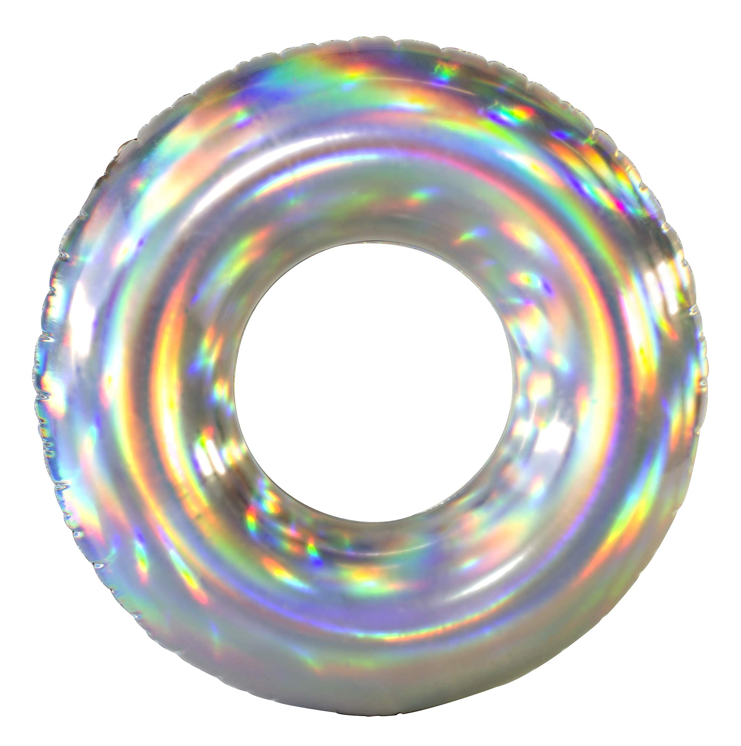 Poolcandy Jumbo Holographic Pool Tube - Worlds First Inflatable Holographic Pool Float - Amazing Rainbow Color Effect in The Sun- Beach Pool or Lake Extra Large Size Swim Rings by Poolcandy