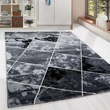 HomebyHome Kurzflor Guenstige Teppich Modern Patchwork Fliesen Muster  Schwarz Grau Weiss Meliert 5 Groessen Wohnzimmer,