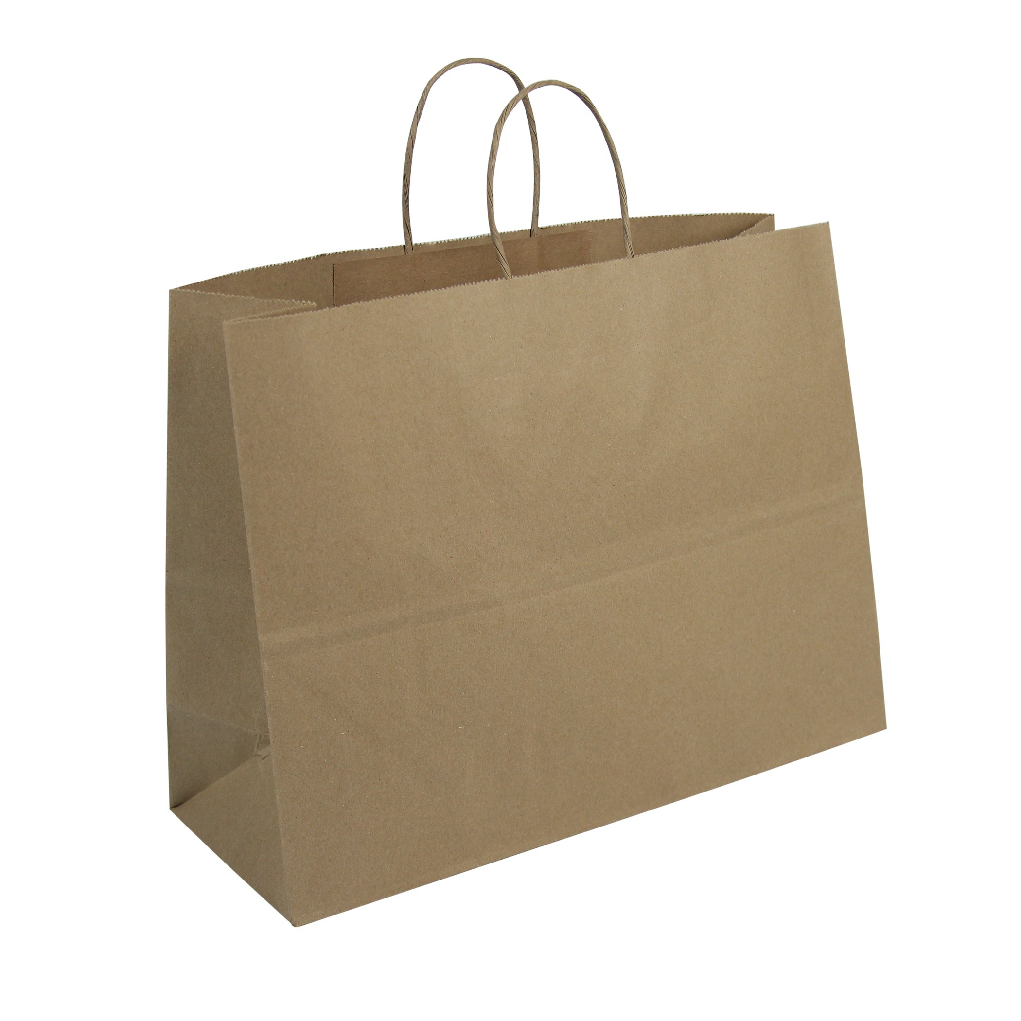 Duro ID# 87129 Tote Shopping Bag 65# 100% Recycled Natural Kraft 250pk 16 x 6 x 12