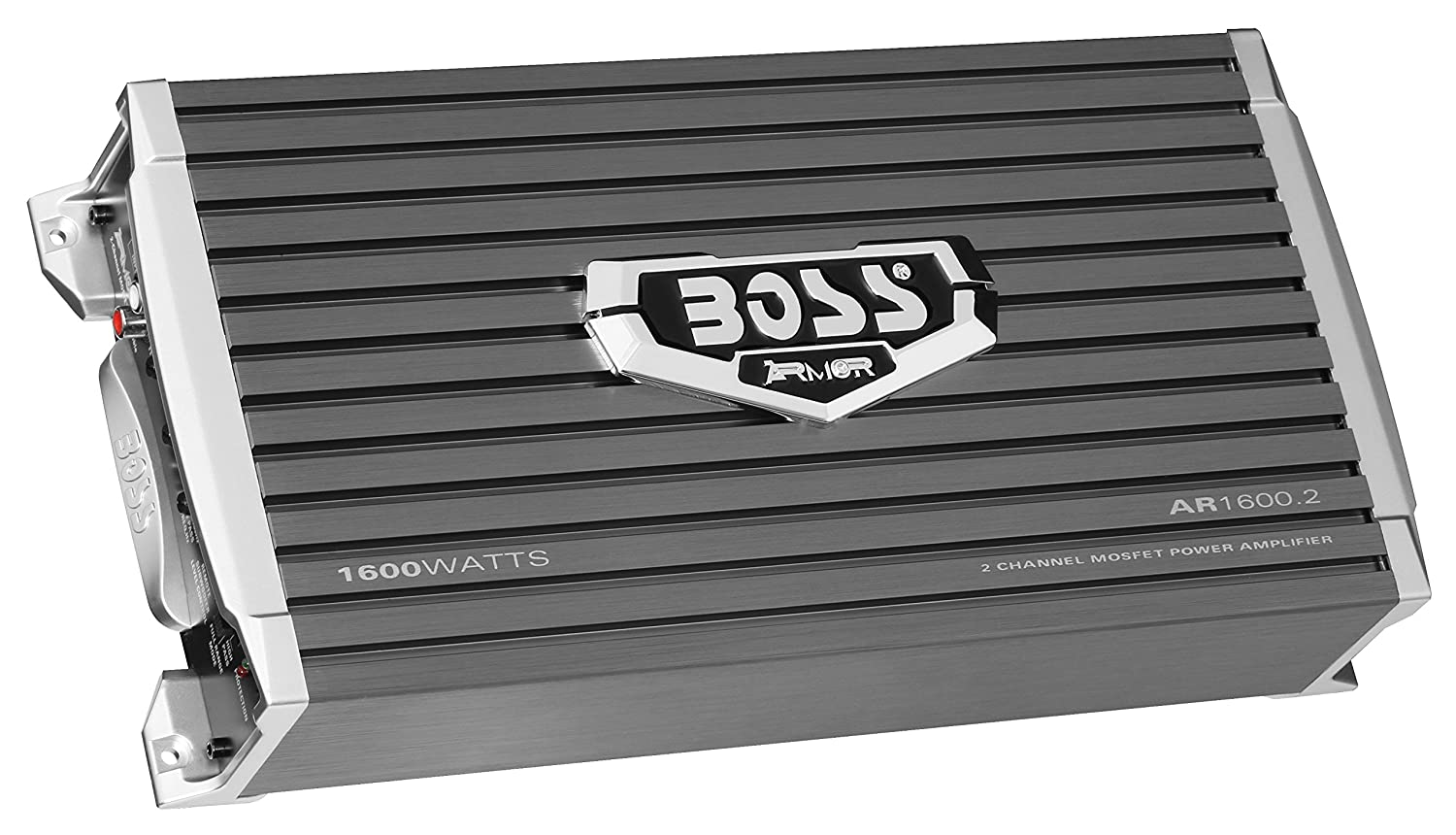 BOSS AUDIO AR1600.2 Armor 1600-Watt Full Range, Class A/B 2-8 Ohm Stable 2 Channel Amplifier, Black