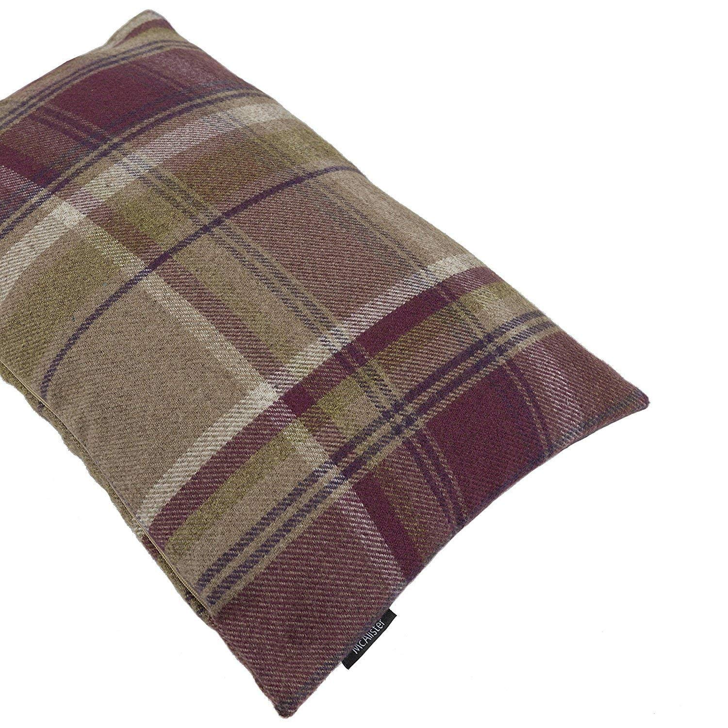 McAlister Textiles Heritage Filled Pillow Mulberry Purple Tartan Plaid Decorative Wool Feel Throw Scatter Sofa Cushion Size – 24 x 16 Inches
