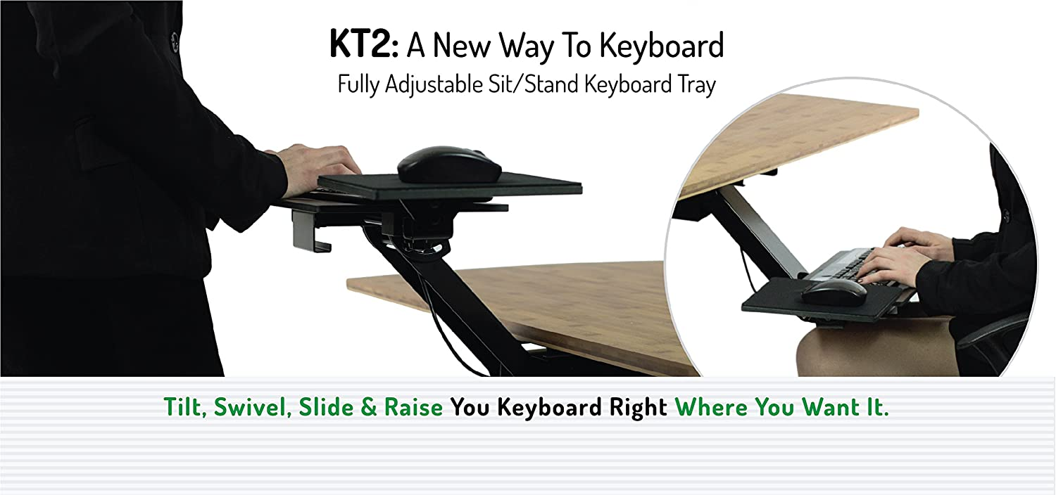 Lovely Uncaged Ergonomics KT2 Standing Desk Keyboard Tray With Negative Tilt    Black: Amazon.co.uk: Office Products