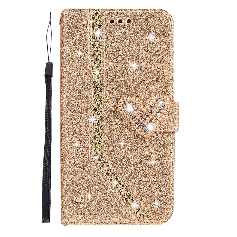 Nadoli Lusso Glitter Amore Cuore Chiusura Magnetica Strass Giuntura Cinturino da Polso Diamante Flip Custodia Cover in Pelle per Huawei P20 Lite, Rose Oro