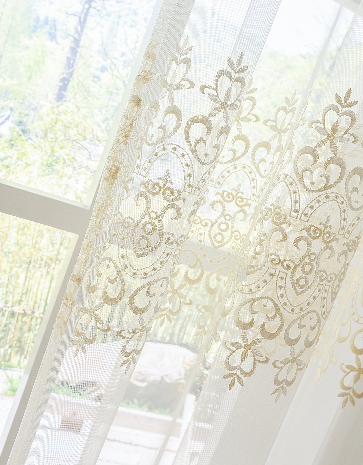 Aside Bside Sheer Curtains Tiny Arrow Embroidered Pattern Relaxed Casual Style Rod Pocket Top for Windows (1 Panel, W 52 x L 104 inch, White 18) -1281643521048518C1PGC by Aside Bside (Image #5)