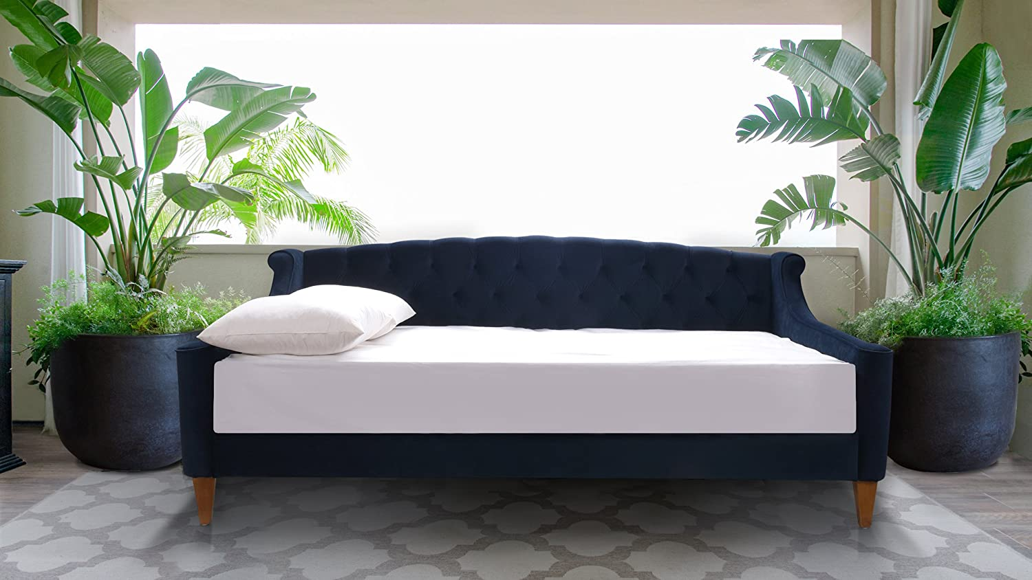Jennifer Taylor Home Lucy Upholstered Button Tufted Sofa Bed, Twin, Dark Navy Blue