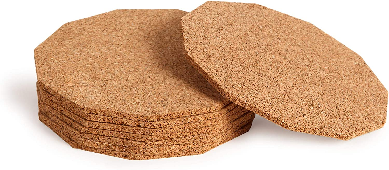 uVeans Bar Cork Coasters for Drinks - Absorbent Cork Coasters - Cork for Plants, Set of 10, 4 Inch Diameter
