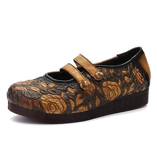 Mocasines de Hebilla de Estilo étnico de Mujer Bombas cómodas en Cuero Genuino Zapatos Planos Casuales con Suela Blanda Primavera y Verano: Amazon.es: ...
