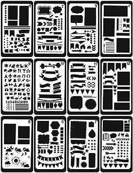 12 plantillas Velidy de plástico para decorar diarios, cuadernos, álbumes de recortes, escribir y hacer garabatos 12PCS: Amazon.es: Hogar