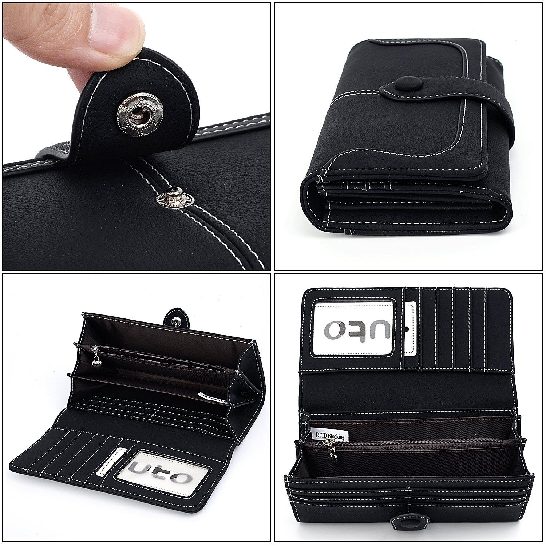 UTO RFID Wallet for Women Vegan Leather 18 Card Slots Card Holder Long Bifold Checkbook 5.5