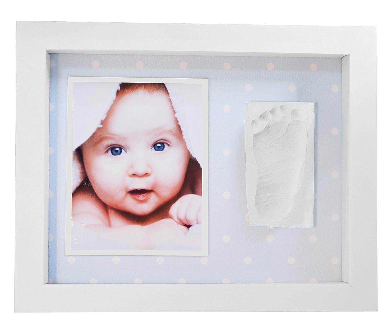 Marco de Fotos para Bebé - 3D Marco de Huellas para Niños - Regalos para Bebé Recién Nacido Lunares Azules: Amazon.es: Bebé