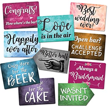 Amazoncom Plastic Photo Booth Prop Signs Set Of 10 Phrases