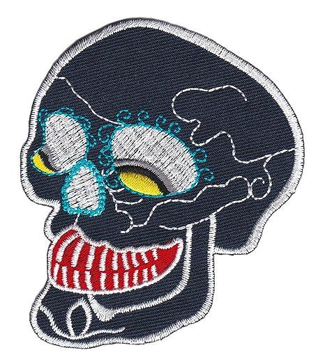 Con diseño de calavera de colour azul oscuro tatuaje de parche de ...