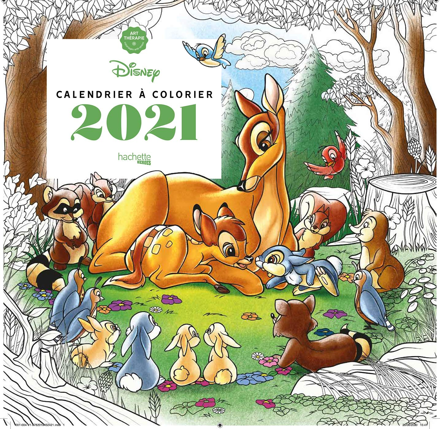 Calendrier Art thérapie Disney à colorier 2021 (Heroes) (French