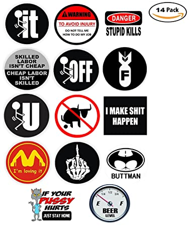 Funny Hard Hat Stickers - BEST SELLER - 14 Decal Value Pack. Great for a  Construction Toolbox, Hardhat, Lunchbox, Helmet, Mechanic & More.