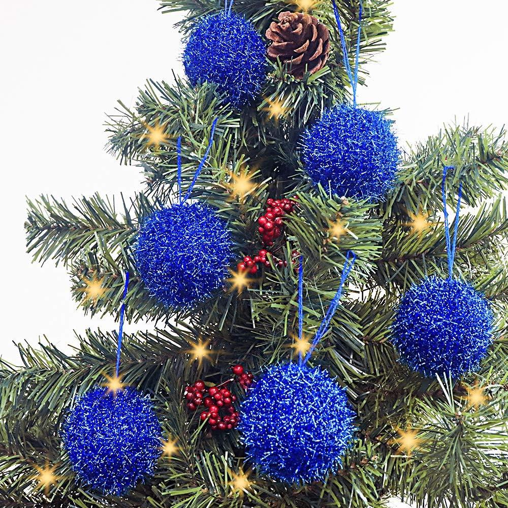 LimBridge Christmas Tree Ornaments, 6 Pcs Knitted Sparkle Glitter Bling Christmas Ball Decorations, for Xmas Decor Holiday Decor, Shimmer Blue…