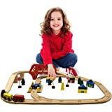 Deluxe Wooden Train Set 50 pcs, Compatible with Most Major Brands Like Thomas the Tank and Brio