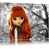 jolie poupée à l'automne forêt noir / blanc sur toile, énorme XXL photos complètement encadrée avec civière, impression d'art sur ??la photo murale avec cadre, moins cher que la peinture ou une peinture à l'huile, pas une affiche ou une bannière