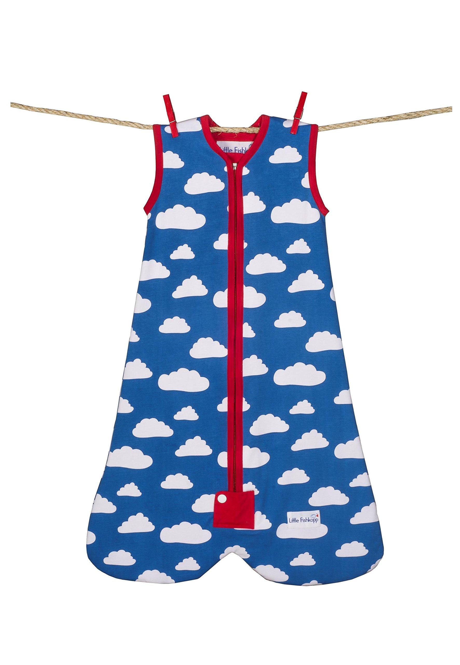 Little Fishkopp Organic Cotton Baby Sleep Bag, Clouds, 1.0 Tog, Blue, Large