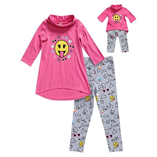 Dollie   Me Girls  Little Cowl Neck Emoji Legging Set and Matching Doll  Outfit 21917b82d