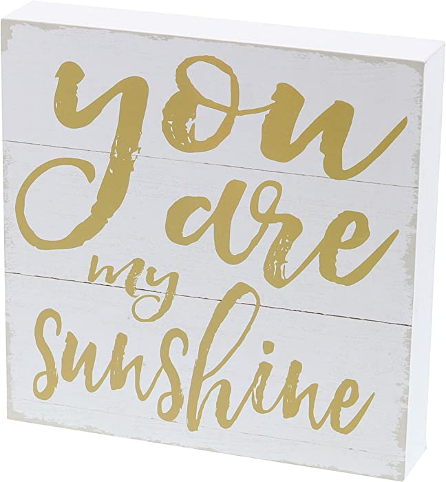 "Barnyard Designs You are My Sunshine Box Sign Home Decor Wood Sign with Sayings 8"" x 8"""