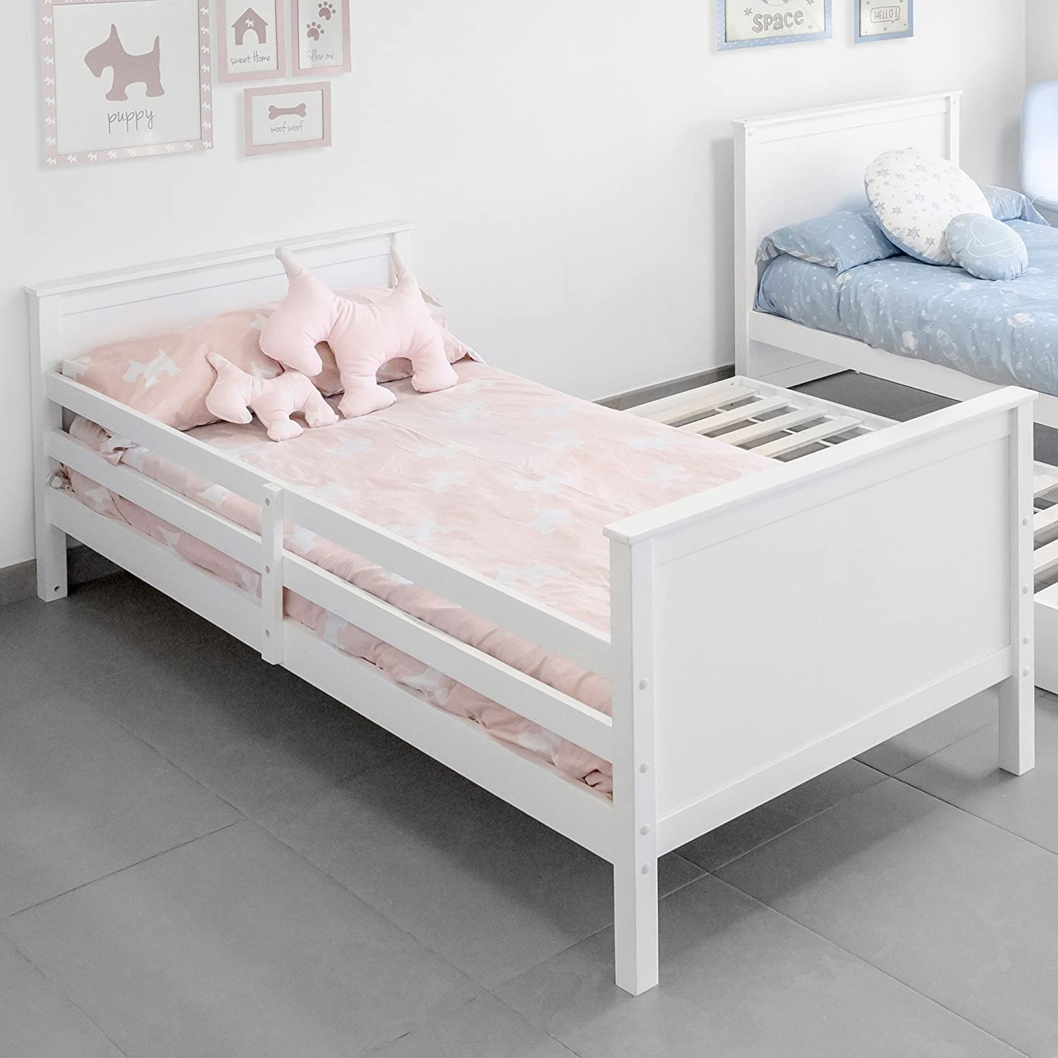 DISTRIMOBEL Litera Doble con Cama de Arrastre Baja, Color Blanco: Amazon.es: Juguetes y juegos