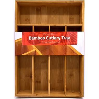 Utopia Kitchen Bamboo Silverware Organizer- 5 Compartments - Bamboo Drawer Organizer Tray - Bamboo Hardware Organizer