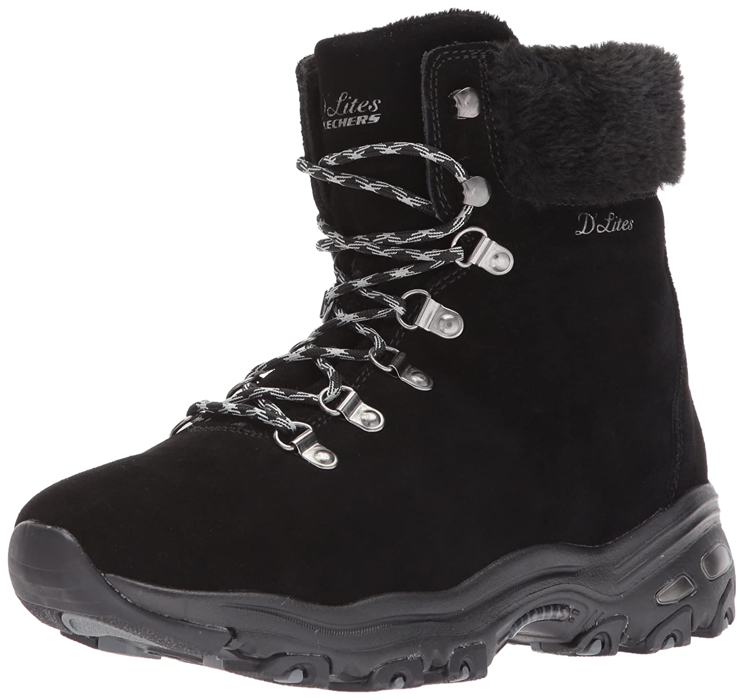 Skechers Women's D'Lites-Alps W Snow Shoe B071LMDGXP 11 W US|Black