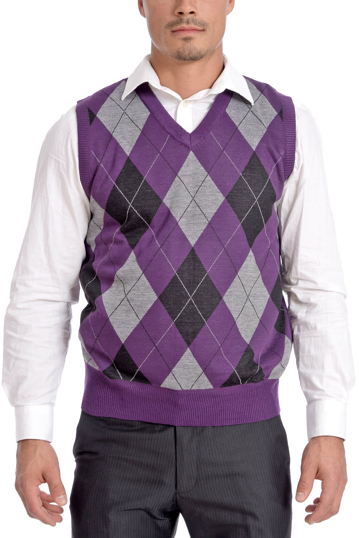 TR Fashion Men's Soft Stretch Argyle V-Neck Casual Pullover Vest (Eggplant, X-Large) by TR Fashion