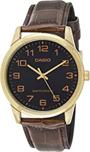 Casio Men's Black Dial Leather Analog Watch - MTP-V001GL-1BUDF